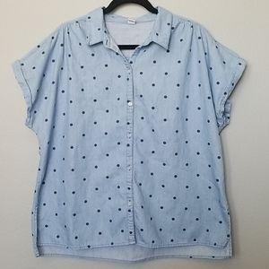Old navy chambray polka dot short sleeve size XL